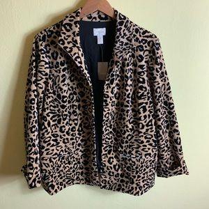 Chico's Leopard Velvet Jacket Size 3 NWT